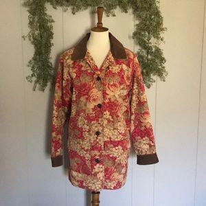 L.L.BEAM Floral Corduroy Trim Chore Barn Jacket M